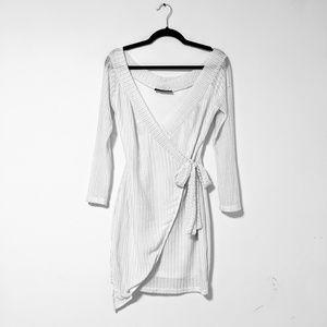 White Akira Dress with mesh sleeves